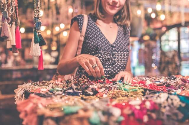 girl and handmade items