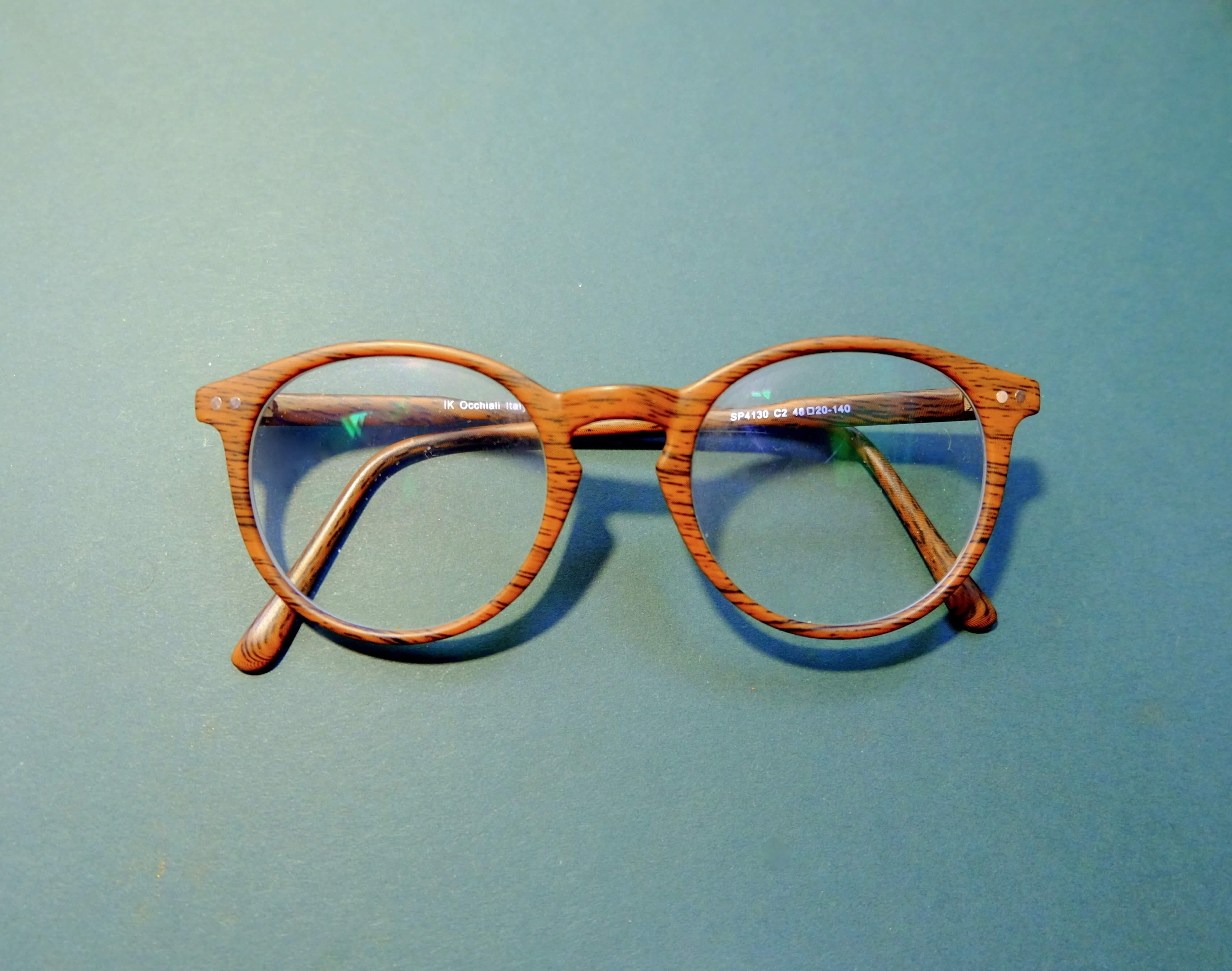 glasses blue background