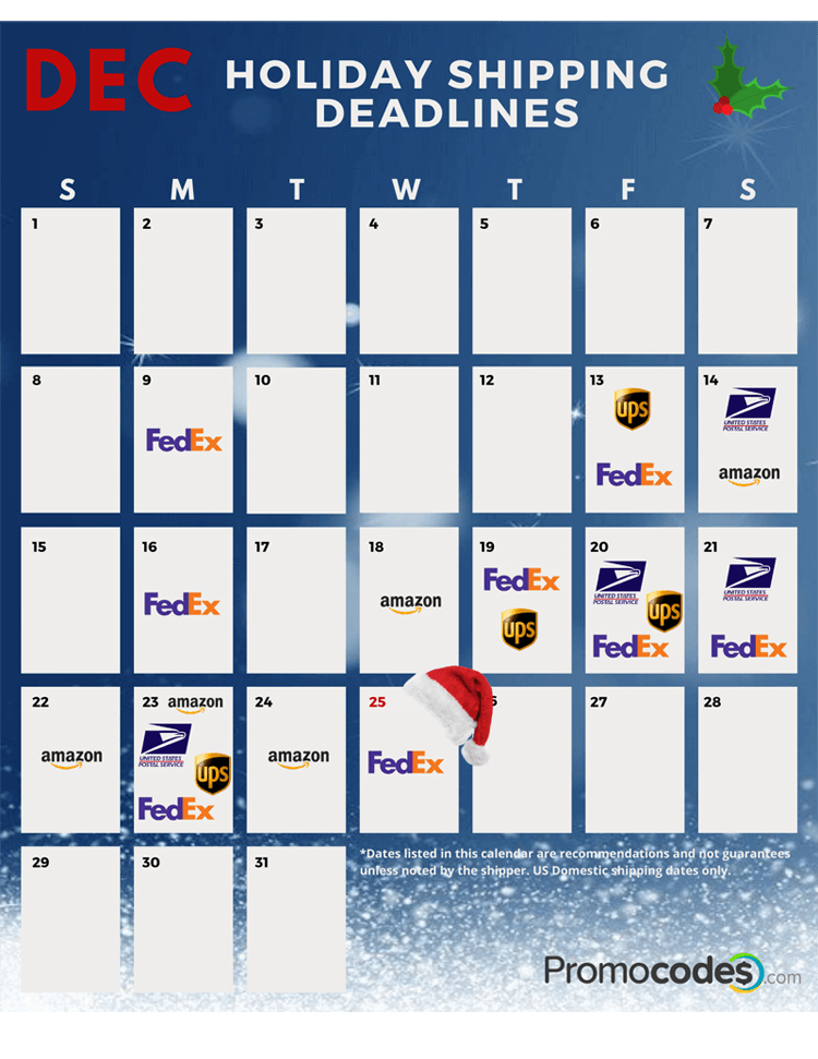 Calendar of 2019 holiday shipping deadlines
