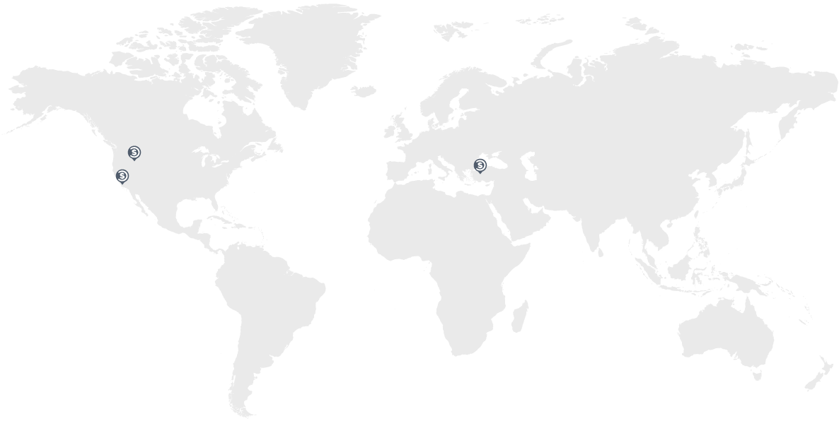 World map with Promocodes.com locations in Santa Monica, CA, Coeur d'Alene, ID, and Istanbul, Turkey