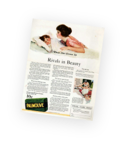 A page out of an old magazine showing the Palmolive advertisment