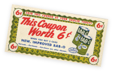 An old grocery coupon worth 6 cents